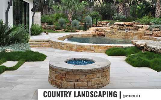 Country style backyard landscaping for residential homes
