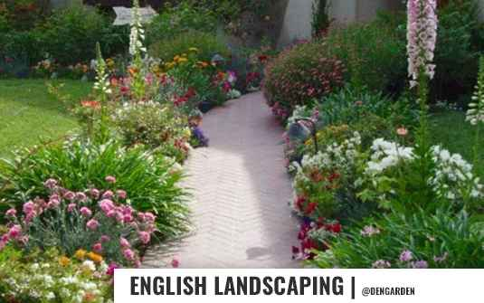 English style landscaped front yard and walkway for residential homes