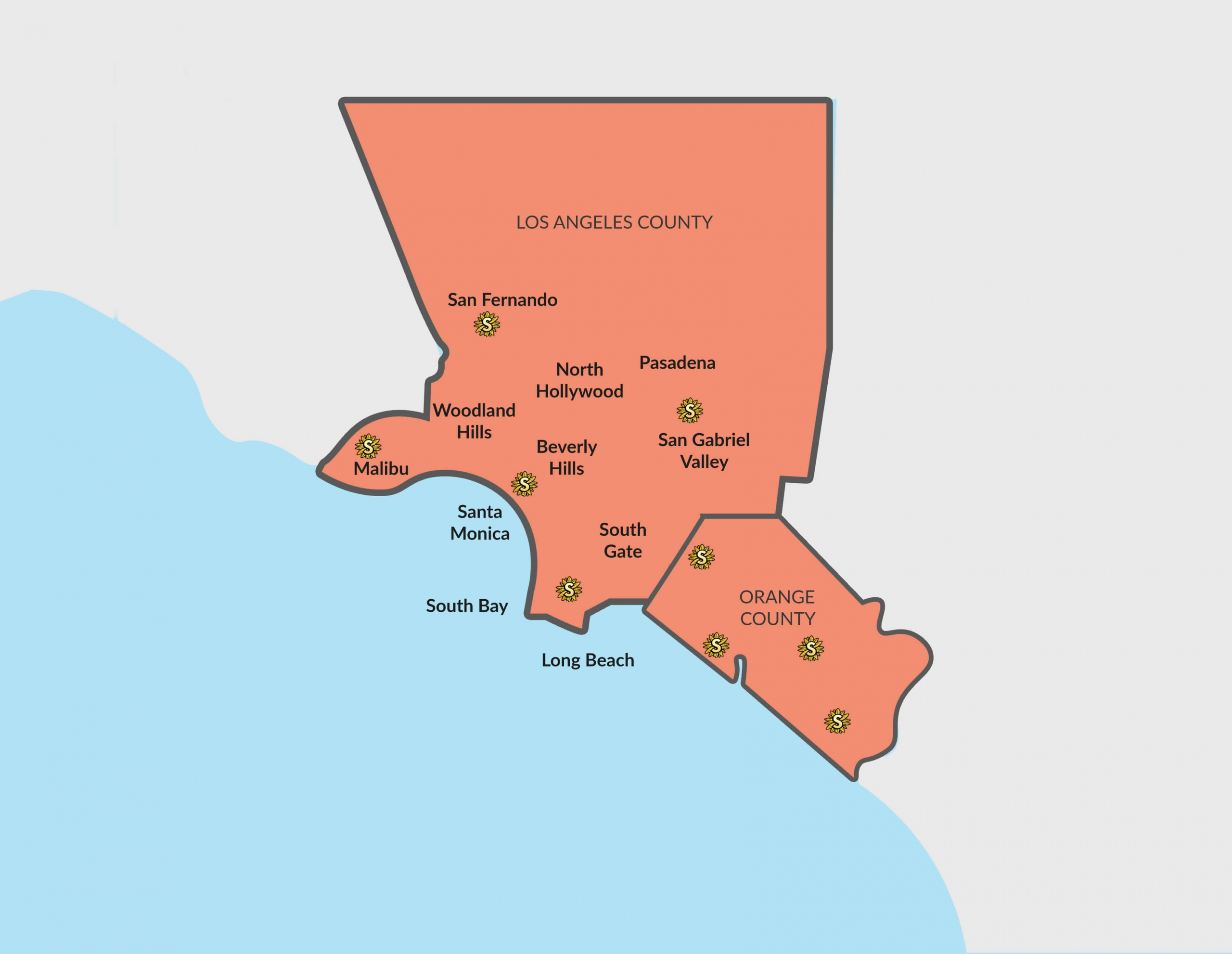 supreme tree map of southern california service locations