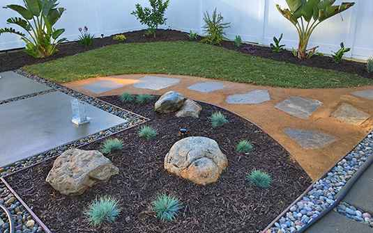 hardscaped yard in irvine california